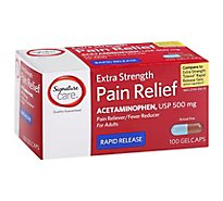 Signature Care Pain Relief Gelcap Acetaminophen 500mg Aspirin Free Extra Strength - 100 Count