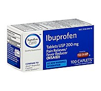 Signature Care Ibuprofen Pain Reliever Fever Reducer USP 200mg NSAID Caplet Blue - 100 Count