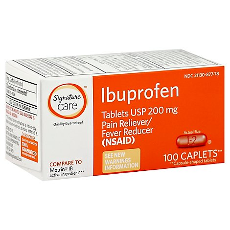 Signature Care Ibuprofen Pain Reliever Fever Reducer USP 200mg NSAID Caplet Orange - 100 Count