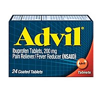 Advil Pain Reliever Fever Reducer Coated Tablet Ibuprofen Temporary Pain Relief - 24 Count