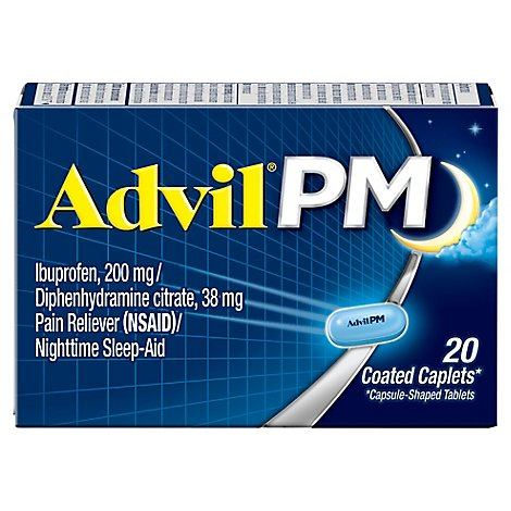 Advil PM Ibuprofen Caplets 200mg Pain Reliever NSAID Nighttime Sleep-Aid - 20 Count