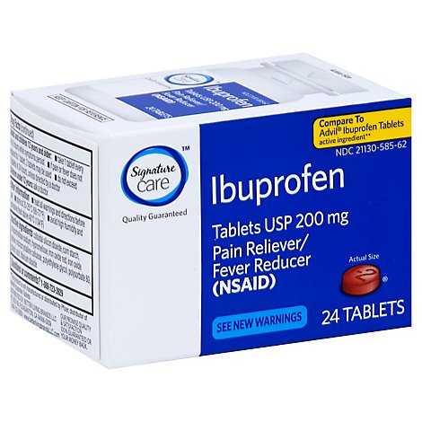 Signature Care Ibuprofen Pain Reliever Fever Reducer USP 200mg NSAID Tablet Blue - 24 Count