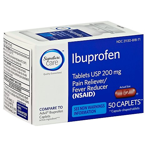 Signature Care Ibuprofen Pain Reliever Fever Reducer USP 200mg NSAID Caplet Blue - 50 Count