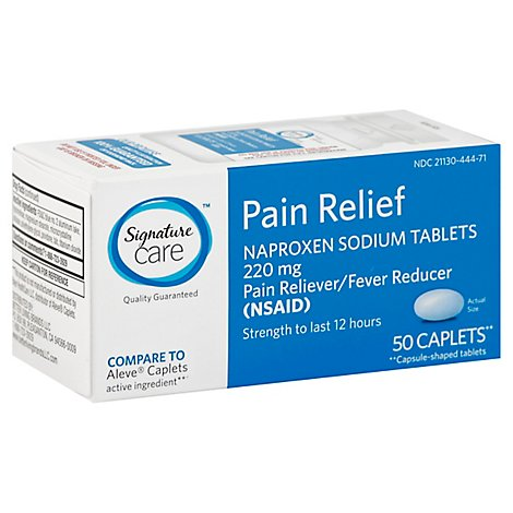 Signature Care Naproxen Sodium Pain Reliever Fever Reducer 220mg NSAID Caplet - 50 Count