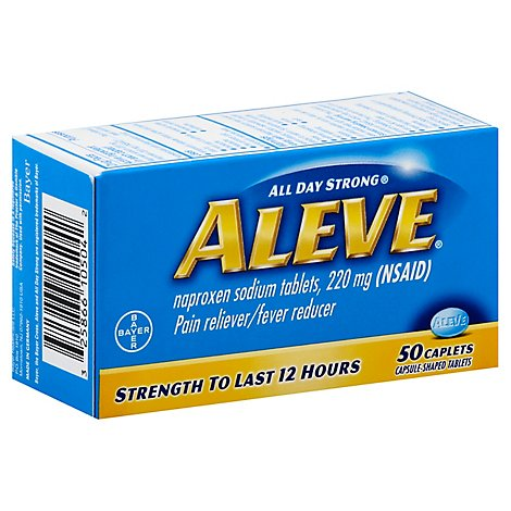 Aleve Naproxen Sodium Tablets 220mg Pain Reliever Fever Reducer - 50 Count