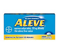 Aleve Naproxen Sodium Tablets 220mg Pain Reliever Fever Reducer - 100 Count