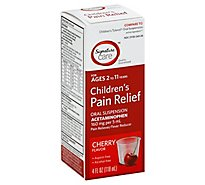 Signature Care Pain Relief Childrens Acetaminophen Oral Suspension Cherry - 4 Fl. Oz.
