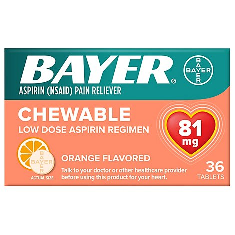 Bayer Aspirin Tablets 81mg Low Dose Chewable Orange Flavored - 36 Count