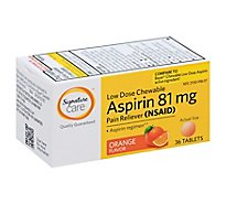 Signature Care Aspirin Pain Reliever 81mg NSAID Orange Flavor Low Dose Chewable Tablet - 36 Count