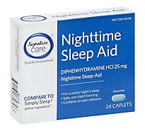 Signature Care Nighttime Sleep Aid Diphenhydramine HCl 25mg Caplet - 24 Count