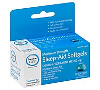 Signature Care Nighttime Sleep Aid Diphenhydramine HCl 50mg Maximum Strength Softgel - 32 Count