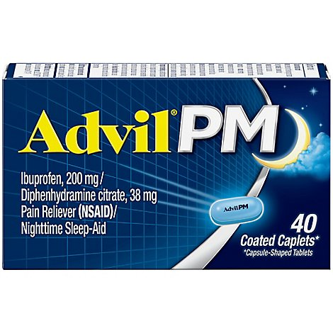Advil PM Ibuprofen Caplets 200mg Pain Reliever NSAID Nighttime Sleep-Aid - 40 Count