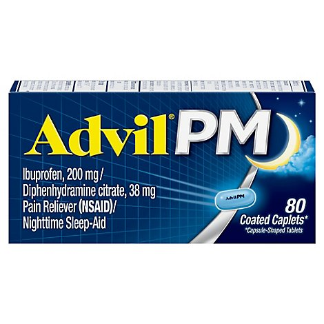 Advil PM Pain Reliever Nighttime Sleep Aid Coated Caplet Ibuprofen Diphenhydramine - 80 Count