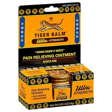 Tiger Balm Pain Relieving Ointment Ultra Strength Sports Rub - 0.63 Oz