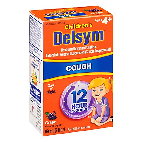 Delsym Childrens Cough Medicine 12 Hour Grape Flavored - 3 Fl. Oz.