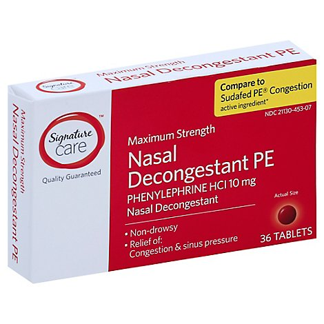 Signature Care Maximum Strength Nasal Decongestant PE Phenylephrine 10mg - 36 Count