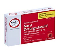 Signature Care Nasal Decongestant PE Tablet Phenylephrine 10mg Maximum Strength - 36 Count