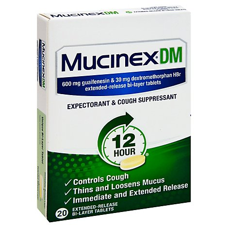 Mucinex DM Expectorant & Cough Suppressant 12 Hour 600 mg Tablets - 20 Count