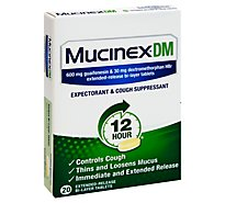 Mucinex DM Expectorant & Cough Suppressant 12 Hours Relief Extended Release Tablets - 20 Count