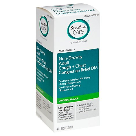 Signature Care Cough + Chest Congestion Relief DM Non Drowsy Adult Original Flavor - 4 Fl. Oz.