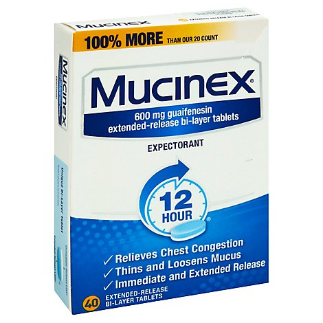 Mucinex Expectorant Chest Congestion 12 Hours Relief Extended Release Tablets -  40 Count