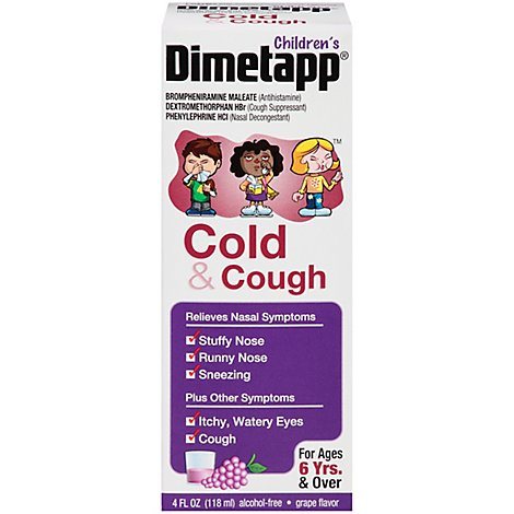 Childrens Dimetapp Cold & Cough Antihistamine Cough Suppressant & Decongestant Liquid - 4 Fl. Oz.