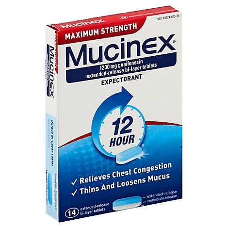 Mucinex Expectorant Chest Congestion 12 Hour Relief Extended Release Tablets - 14 Count