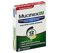 Mucinex DM Expectorant & Cough Suppressant Maximum Strength 12 Hours Relief Tablets - 14 Count