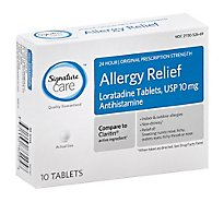 Signature Care Allergy Relief 10mg Antihistamine Original Strength Loratadine Tablet - 10 Count
