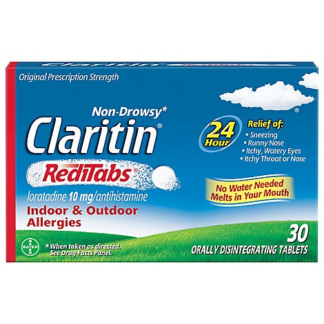 Claritin Antihistamine Tablets Indoor & Outdoor Allergies 10mg RediTabs - 30 Count