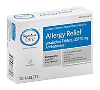 Signature Care Allergy Relief 10mg Antihistamine Original Strength Loratadine Tablet - 30 Count