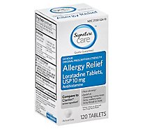 Signature Care Allergy Relief 10mg Antihistamine Original Strength Loratadine Tablet - 120 Count