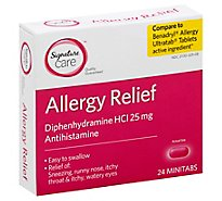 Signature Care Allergy Relief Diphenhydramine HCI 25mg Antihistamine Minitab - 24 Count