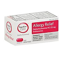 Signature Care Allergy Relief Diphenhydramine HCI 25mg Antihistamine Minitab - 100 Count