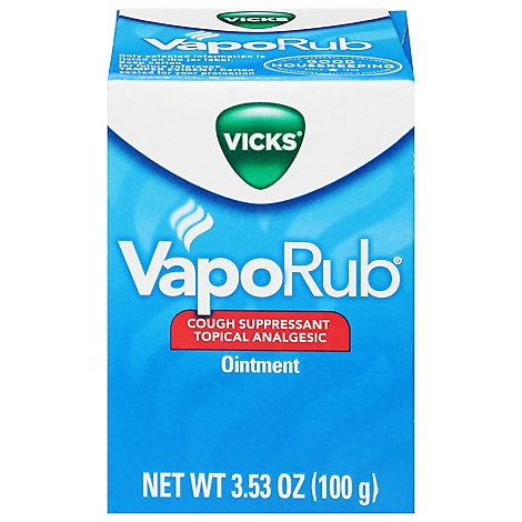 Vicks VapoRub Cough Ointment Suppressant Topical Analgesic - 3.53 Oz