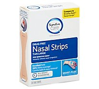 Signature Care Nasal Strips Drug Free For Sensitive Skin Smart Flex Tan Large - 30 Count