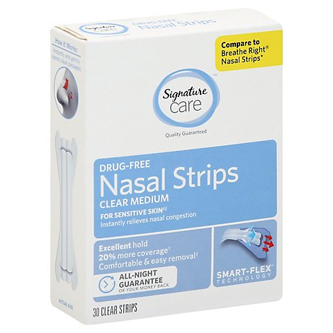 Signature Care Nasal Strips Breathing Aid Clear Medium - 30 Count