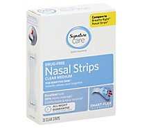 Signature Care Nasal Strips Drug Free For Sensitive Skin Smart Flex Clear Medium - 30 Count