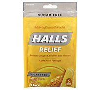 HALLS Cough Suppressant Drops Triple Soothing Action Sugar Free Honey Lemon - 25 Count