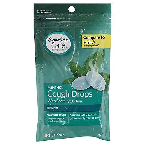 Signature Care Cough Drops Menthol Original - 30 Count