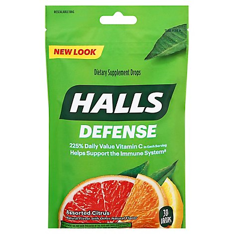 Halls Defense Drops 100% Vitamin C Assorted Citrus - 30 Drops