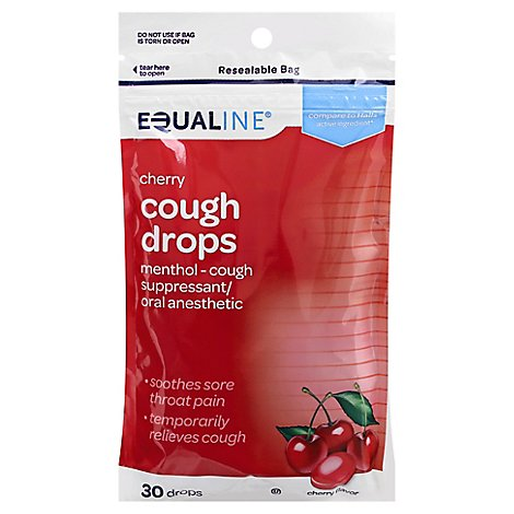 Signature Care Cough Drops Menthol Soothing Action Cherry - 30 Count