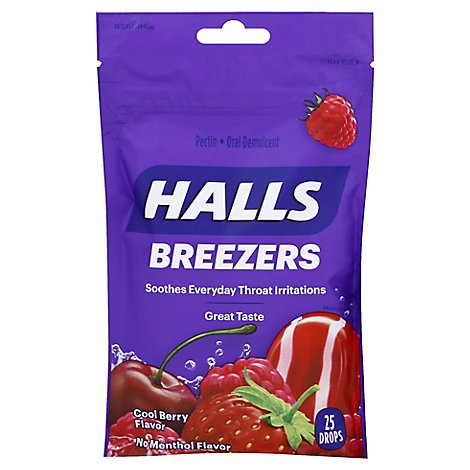 HALLS Oral Demulcent Throat Drops Breezers Cool Berry - 25 Count