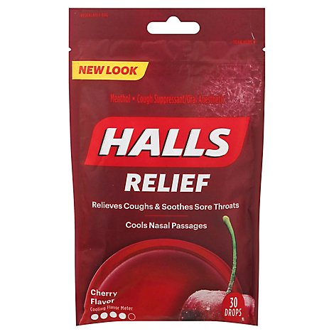 HALLS Cough Suppressant Drops Triple Soothing Action Cherry - 30 Count