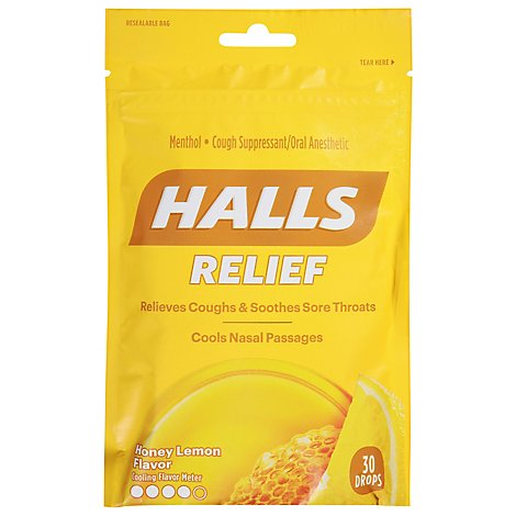 HALLS Cough Suppressant Drops Triple Soothing Action Honey Lemon - 30 Count