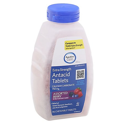 Signature Care Extra Strength Antacid Relief Mixed Berry - 96 Count