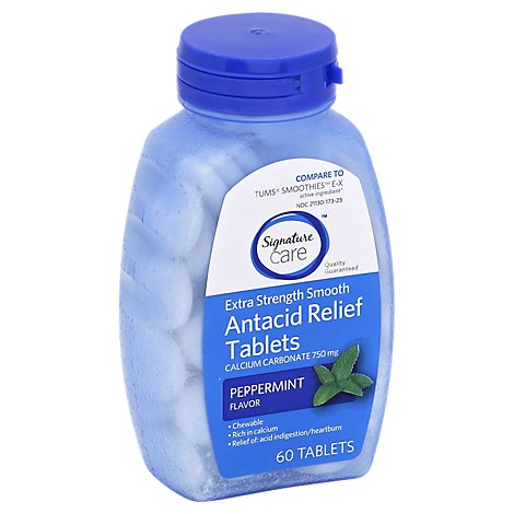 Signature Care Antacid Relief Extra Strength Peppermint Chewable Tablet - 60 Count