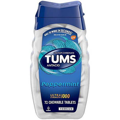 Tums Ultra Antacid Tablets Peppermint - 72 Count