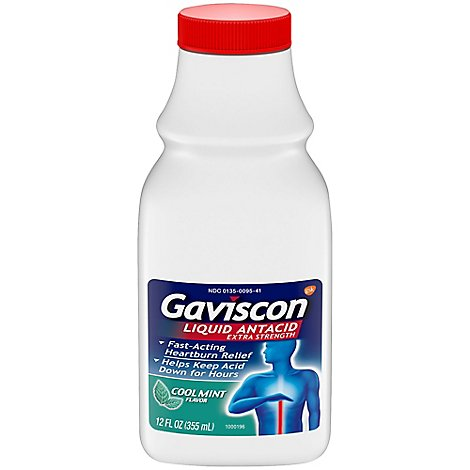 Gaviscon Heartburn Relief Extra Strength Liquid Antacid Cool Mint - 12 Fl. Oz.
