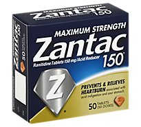Zantac 150 Acid Reducer Tablets Maximum Strength 150 mg - 50 Count